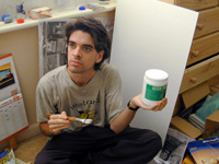 me holding the gesso